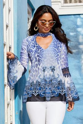 Display product reviews for Animal Print Flare-Sleeve Keyhole Blouse