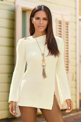 asymmetrical one-shoulder flare-sleeve tunic sweater