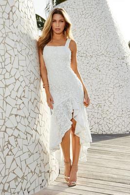 floral crochet high-low ruffle sleeveless dress