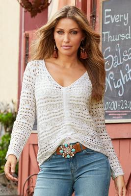 crochet ruched-front v-neck sweater