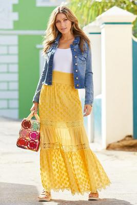 crochet tiered pull-on maxi skirt