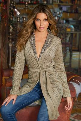 Embellished Faux-Suede Shawl-Collar Jacket
