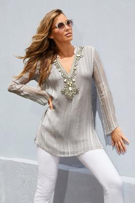 Embellished Shine Detail Long-Sleeve Tunic Top