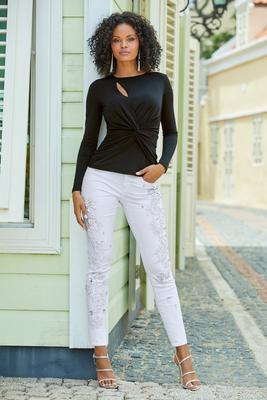 Embroidered and Embellished Five-Pocket Mid-Rise Ankle Jean
