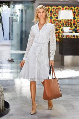 Long-Sleeve Eyelet Fit-and-Flare Shirt Dress