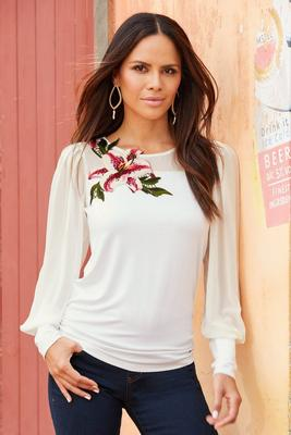 floral appliqué chiffon-detail long-sleeve to
