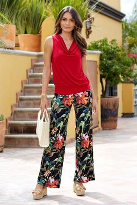 Floral Chain-Print Pull-On Palazzo Pant