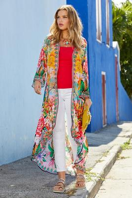 Display product reviews for Floral Printed Embellished Flare-Sleeve Duster Jacket