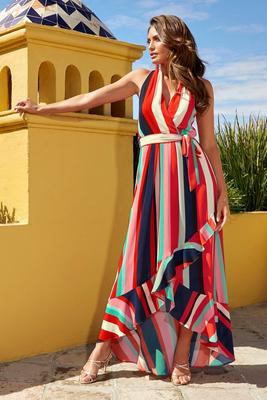 Halter-Neck Stripe High-Low Maxi Dress