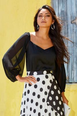 illusion sleeve blouse