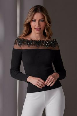 Lace Embellished Illusion Detail Ribbed Sweater