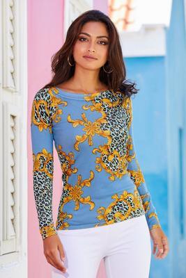 Leopard Status-Print Boat-Neck Sweater