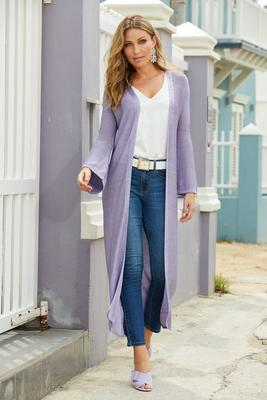 Lurex Flare-Sleeve Duster Sweater