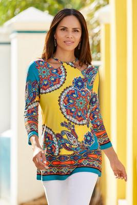 Colorful Medallion-Print Cutout Tunic Top
