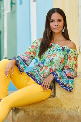 off-the-shoulder mixed printed bell-sleeve top