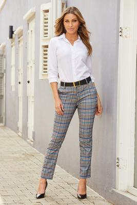 slim plaid shimmer trouser pants