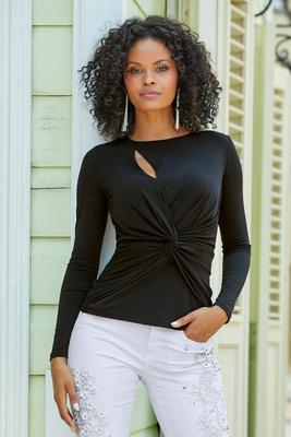 cutout knot-front long-sleeve top