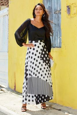polka-dot pleated high-rise maxi skirt