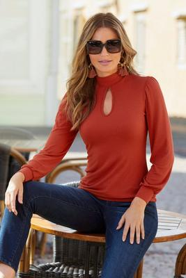 Ribbed Keyhole Mock-Neck Long-Sleeve Top