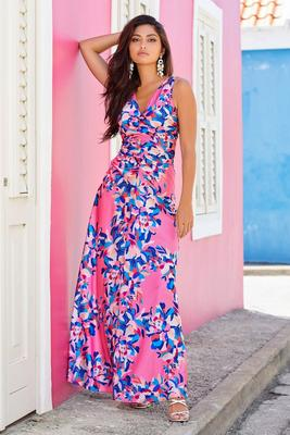 ruched floral sleeveless maxi dress