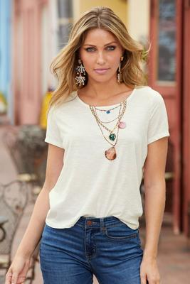 Shell Necklace Short-Sleeve Graphic Boyfriend Tee