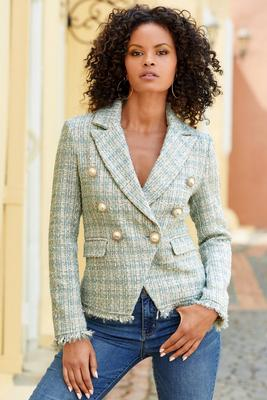 Shine Tweed Fringe Double-Breasted Pearl Jacket