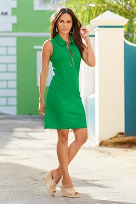 Sleeveless Collared Zip Shift Dress