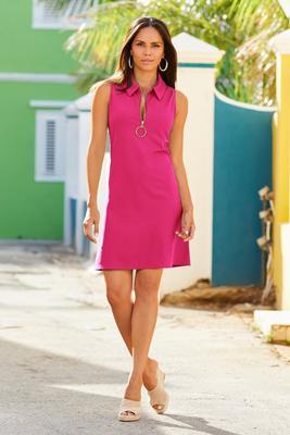 Sleeveless Collared Zip Shift Dress