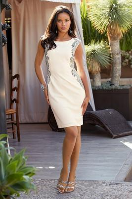 Sleeveless Jewel-Embellished Sheath Dress