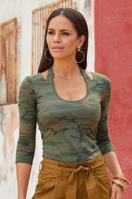 camo halter cutout scoop-neck top