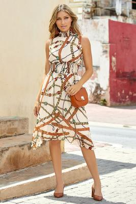 Sleeveless Status-Print Pleated Mock-Neck Midi Dress