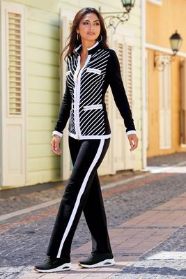 Striped Chic-Zip Two-Piece Coordinates
