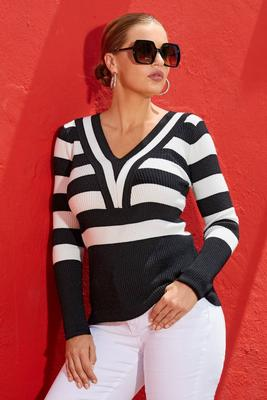 Striped V-Neck Wide-Cuff Ribbed Sweater