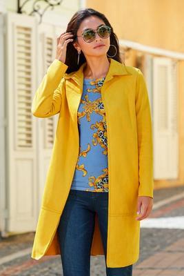 faux-suede soft long jacket