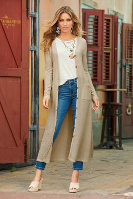 Thermal Knit Lightweight Duster Cardigan