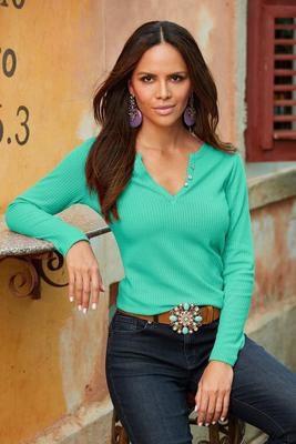 Thermal Knit Sparkle-Button Long-Sleeve Henley Top