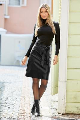 Tie-Waist Faux-Leather A-Line Skirt