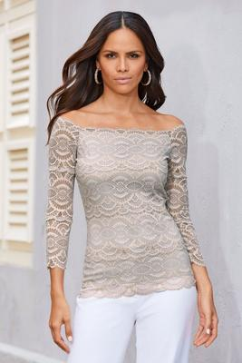 Two-Tone Lace Off-the-Shoulder Scalloped Top