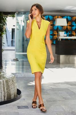 v-neck front-ruched cap-sleeve sheath dress
