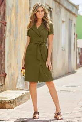 Zippered Moto Short-Sleeve Sheath Dress