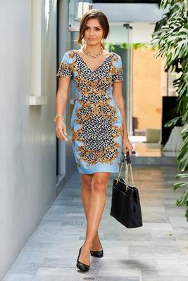 scroll animal-print short-sleeve sheath dress