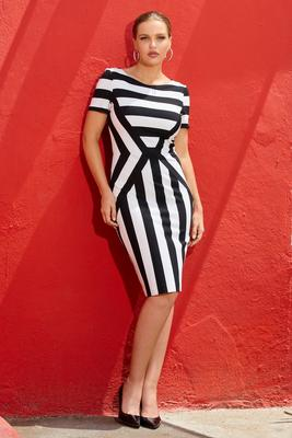 Short-Sleeve Stripe Stretch Sheath Dress
