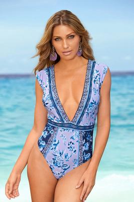 floral printed low-plunge one-piece cap-sleeve swimsuit