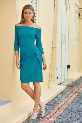 Off-the-Shoulder Embellished Compression Dress