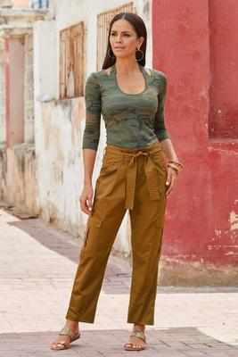 High-Rise Paperbag Cargo Crop Pant
