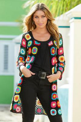 Tie-Front Medallion Crochet Sweater Cardigan