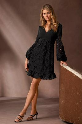 Swiss Dot and Lace Long-Sleeve Fit-and-Flare Dress