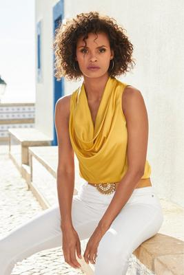 Display product reviews for Marilyn Cowl-Neck Blouse