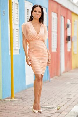 Display product reviews for Mesh Ruched Draped-Back Sheath Dress