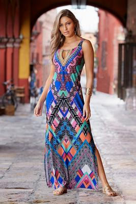 Beaded Neck Printed Maxi Dress